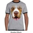 Mens Pit Bull Shirt Big Pit Bull Face Ringer Tee T-Shirt