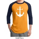 Mens Sailing Shirt White Anchor Raglan Tee T-Shirt