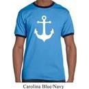 Mens Sailing Shirt White Anchor Ringer Tee T-Shirt