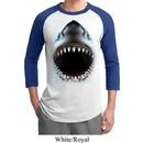 Mens Shark Shirt Big Shark Face Raglan Tee T-Shirt
