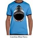 Mens Shark Shirt Big Shark Face Ringer Tee T-Shirt