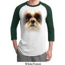 Mens Shih Tzu Shirt Big Shih Tzu Face Raglan Tee T-Shirt
