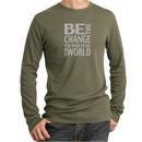 Mens Shirt Be The Change Long Sleeve Thermal Tee T-Shirt