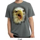 Mens Shirt Big Eagle Face Pigment Dyed Tee T-Shirt