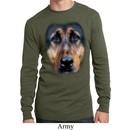 Mens Shirt Big German Shepherd Face Long Sleeve Thermal Tee T-Shirt