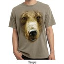 Mens Shirt Big Grizzly Bear Face Pigment Dyed Tee T-Shirt