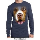 Mens Shirt Big Pit Bull Face Long Sleeve Thermal Tee T-Shirt