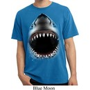 Mens Shirt Big Shark Face Pigment Dyed Tee T-Shirt