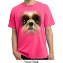 Mens Shirt Big Shih Tzu Face Pigment Dyed Tee T-Shirt