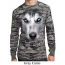 Mens Shirt Big Siberian Husky Face Long Sleeve Thermal Tee T-Shirt