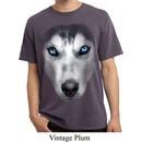 Mens Shirt Big Siberian Husky Face Pigment Dyed Tee T-Shirt