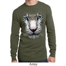 Mens Shirt Big White Tiger Face Long Sleeve Thermal Tee T-Shirt