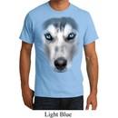 Mens Siberian Husky Shirt Big Siberian Husky Face Organic T-Shirt