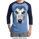 Mens Siberian Husky Shirt Big Siberian Husky Face Raglan Tee T-Shirt