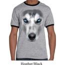 Mens Siberian Husky Shirt Big Siberian Husky Face Ringer Tee T-Shirt