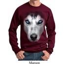 Mens Siberian Husky Sweatshirt Big Siberian Husky Face Sweat Shirt