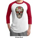 Mens Skull Shirt Sugar Skull with Roses Raglan Tee T-Shirt