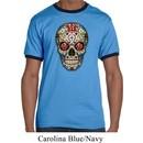 Mens Skull Shirt Sugar Skull with Roses Ringer Tee T-Shirt