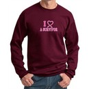 Mens Sweatshirt Breast Cancer Awareness I Heart a Survivor Sweat Shirt