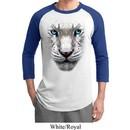 Mens White Tiger Shirt Big White Tiger Face Raglan Tee T-Shirt