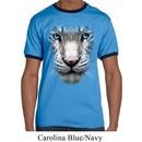 Mens White Tiger Shirt Big White Tiger Face Ringer Tee T-Shirt