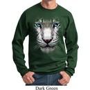 Mens White Tiger Sweatshirt Big White Tiger Face Sweat Shirt