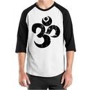 Mens Yoga Shirt Black Distressed OM Raglan Tee T-Shirt