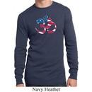 Mens Yoga Shirt Patriotic Om Long Sleeve Thermal Tee T-Shirt