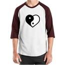 Mens Yoga Shirt Yin Yang Heart Raglan Tee T-Shirt
