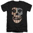 Misfits Juniors V Neck Shirt Fiend Flag 2 Black T-Shirt