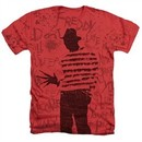 Nightmare On Elm Street Shirt Freddy Silhouette Heather Red T-Shirt