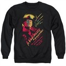 Nightmare On Elm Street Sweatshirt Freddy Claws Adult Black Sweat Shirt
