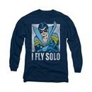 Nightwing DC Comics Shirt Fly Solo Long Sleeve Navy Blue Tee T-Shirt