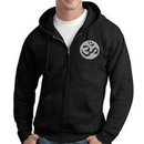 Mens Yoga Hoodie Sweatshirt ? Om Symbol Full Zip Hooded Sweat Shirt