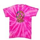 Peace Tie Dye T-shirt Funky Peace Neon Bubblegum Twist Tie Dye