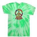 Peace Tie Dye T-shirt Funky Peace Neon Kiwi Twist Tie Dye