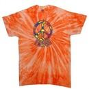 Peace Tie Dye T-shirt Funky Peace Neon Orange Twist Tie Dye
