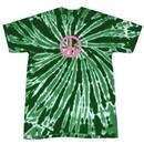 Peace Tie Dye T-shirt Pink Peace Dark Green Twist Tie Dye Tee
