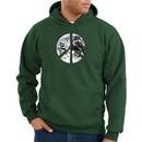 Peace Sign Hoodie Sweatshirt Earth Satellite Image Dark Green Hoody