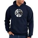 Peace Sign Hoodie Sweatshirt Earth Satellite Image Symbol Navy Hoody