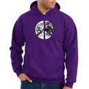 Peace Sign Hoodie Sweatshirt Earth Satellite Image Symbol Purple Hoody