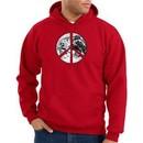 Peace Sign Hoodie Sweatshirt Earth Satellite Image Symbol Red Hoody