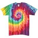 Pink Peace Retro Swirl Tie Dye Adult Unisex Size T-shirt Tee Shirt