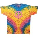 Pink Peace Sign Yoga Woodstock Tie Dye Adult Unisex T-Shirt Tee Shirt