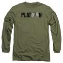 Platoon Long Sleeve Shirt Logo Military Green Tee T-Shirt