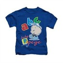Popeye Shirt ABC Kids Royal Blue Youth Tee T-Shirt