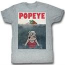 Popeye Shirt Beware of Popeye Adult Heather Grey T-Shirt Tee