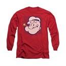 Popeye Shirt Head Long Sleeve Red Tee T-Shirt