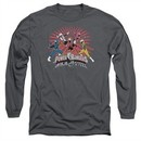 Power Rangers Ninja Steel Long Sleeve Shirt Blast Charcoal Tee T-Shirt