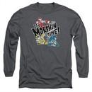Power Rangers Ninja Steel Long Sleeve Shirt It's Morphin Time Charcoal Tee T-Shirt